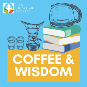Light blue background with stacks of books and coffeemaking essentials. Text: Coffee & Wisdom